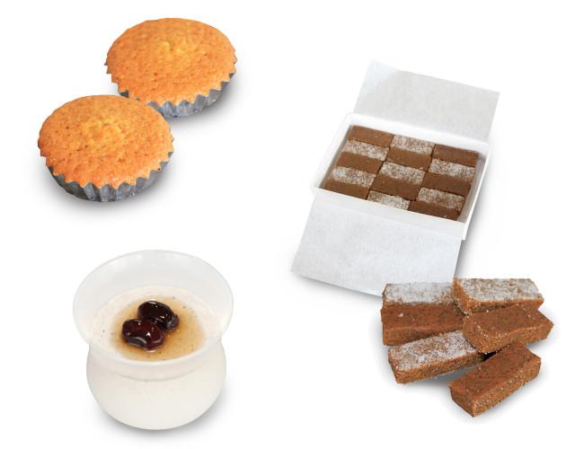 「有機祝黒大豆きなこ」のお菓子3品